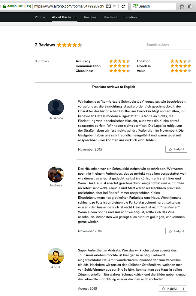 Reviews AirBnB